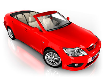 image of expensive red convertible car